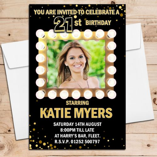 10 Personalised Light Frame Birthday Party Invitations N217 ANY AGE